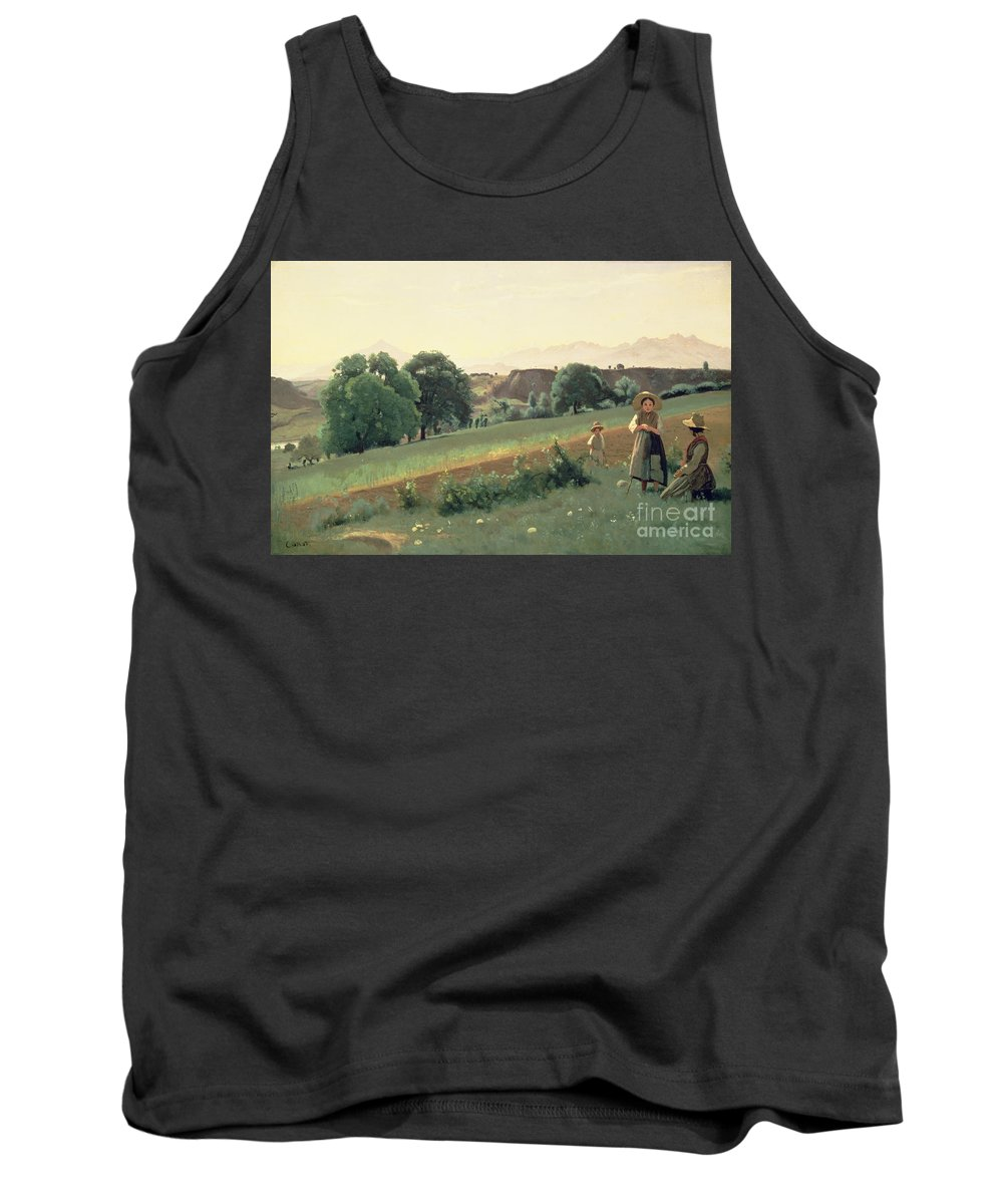 Landscape Tank Top featuring the painting Landscape At Mornex by Jean Baptiste Corot