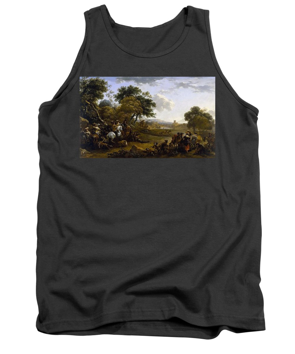 Tree Tank Top featuring the digital art Landscape With A Hunting Party Nicolaes Claes Pietersz Berchem by Eloisa Mannion