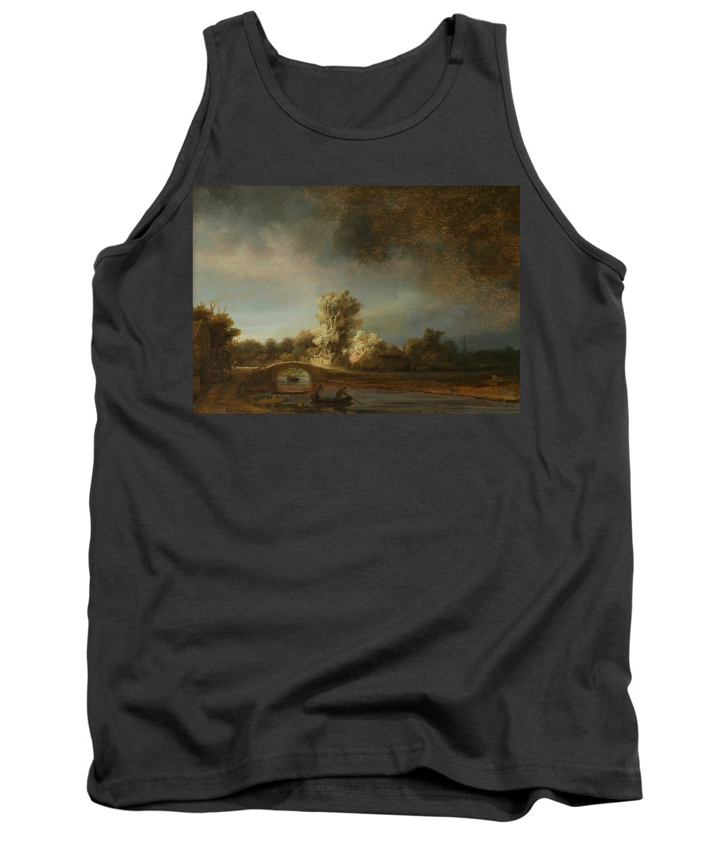 Rembrandt Tank Top featuring the painting Landscape With A Stone Bridge by Rembrandt