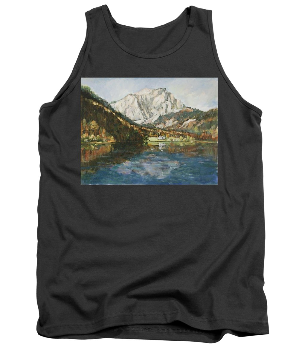 Landscape Tank Top featuring the painting Langbathsee Austria by Alexandra Maria Ethlyn Cheshire