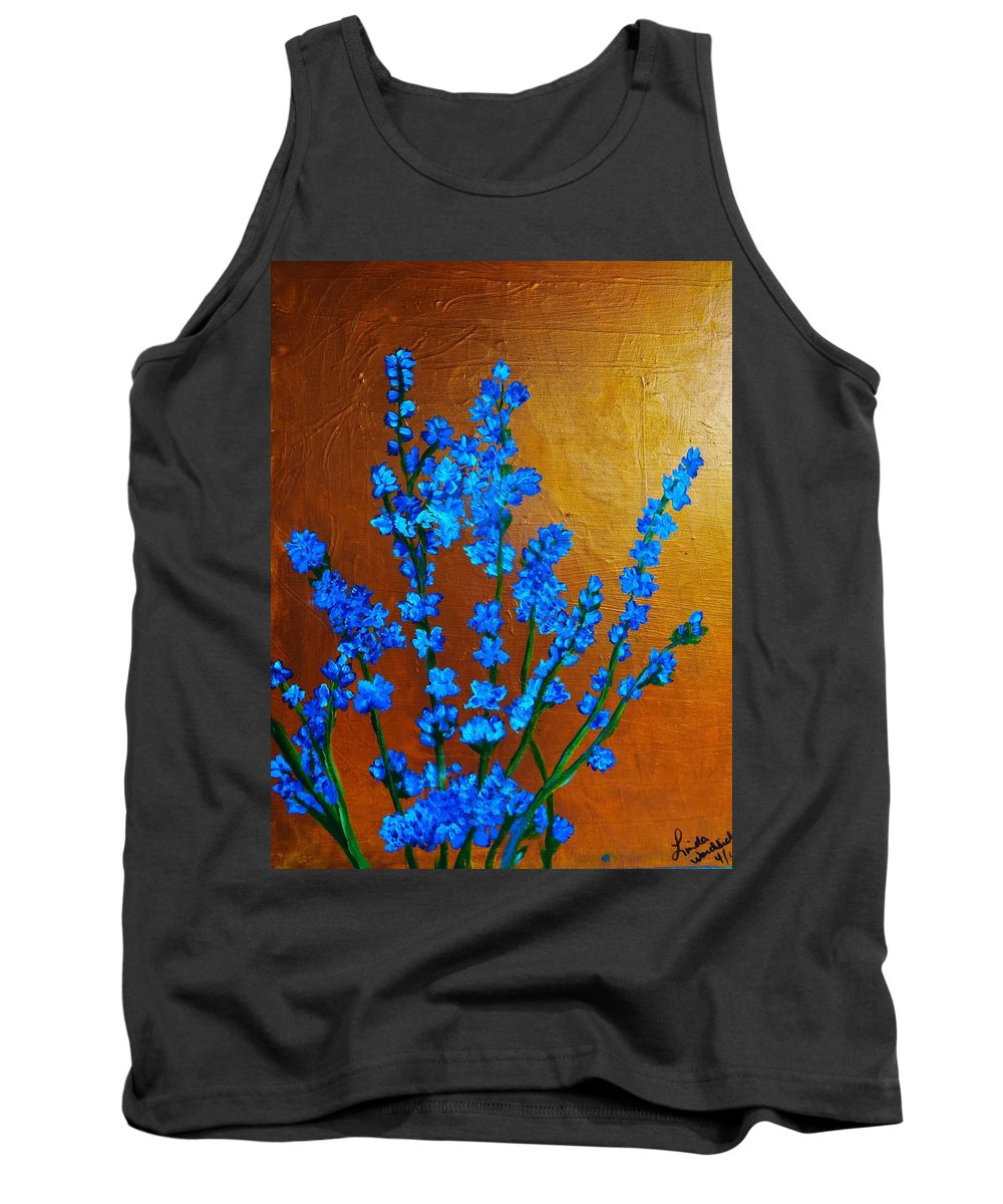 #larkspur Acrylic Painting Tank Top featuring the painting Larkspur by Linda Waidelich