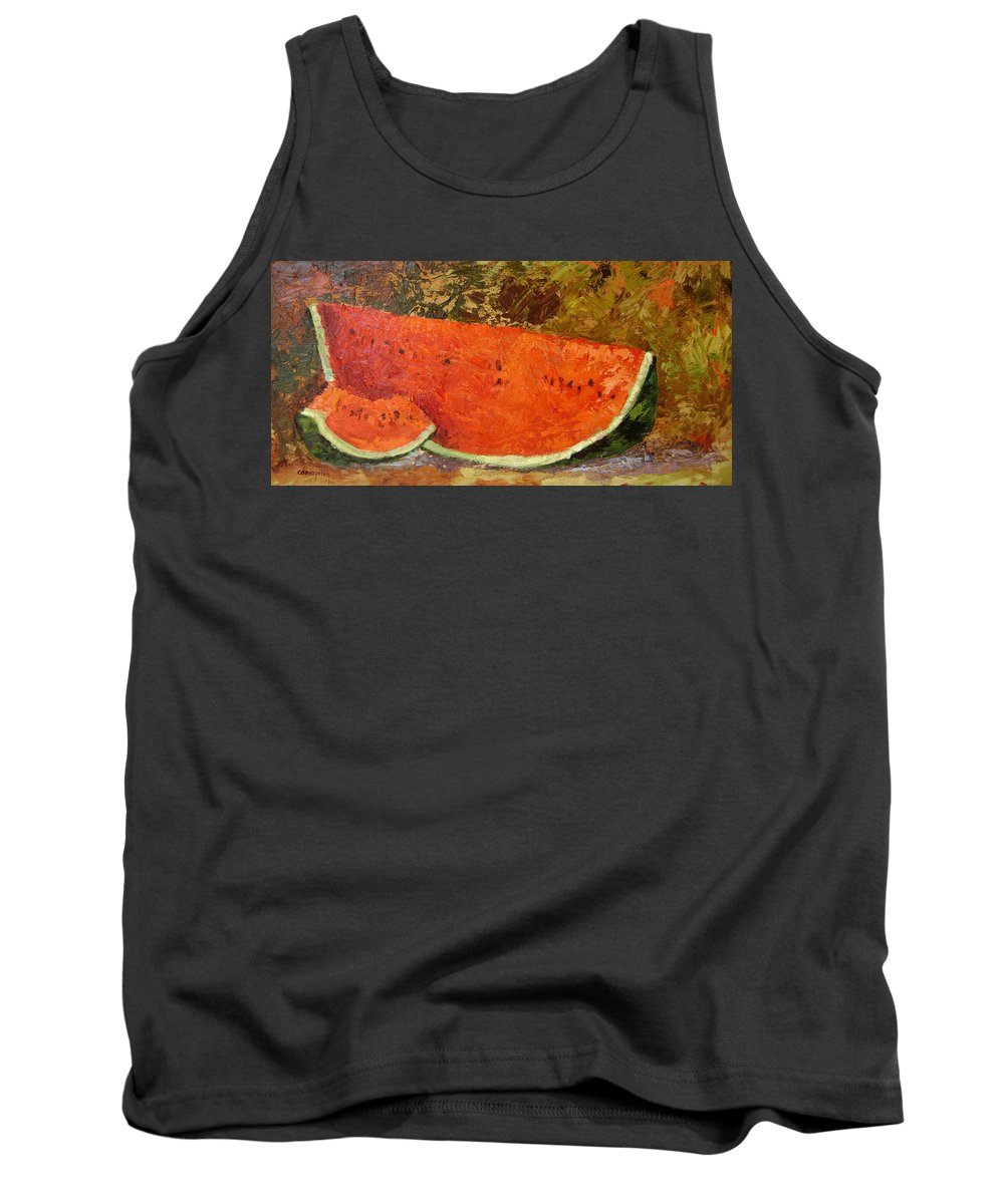 Watermelon Tank Top featuring the painting Last Of Summer by Ginger Concepcion