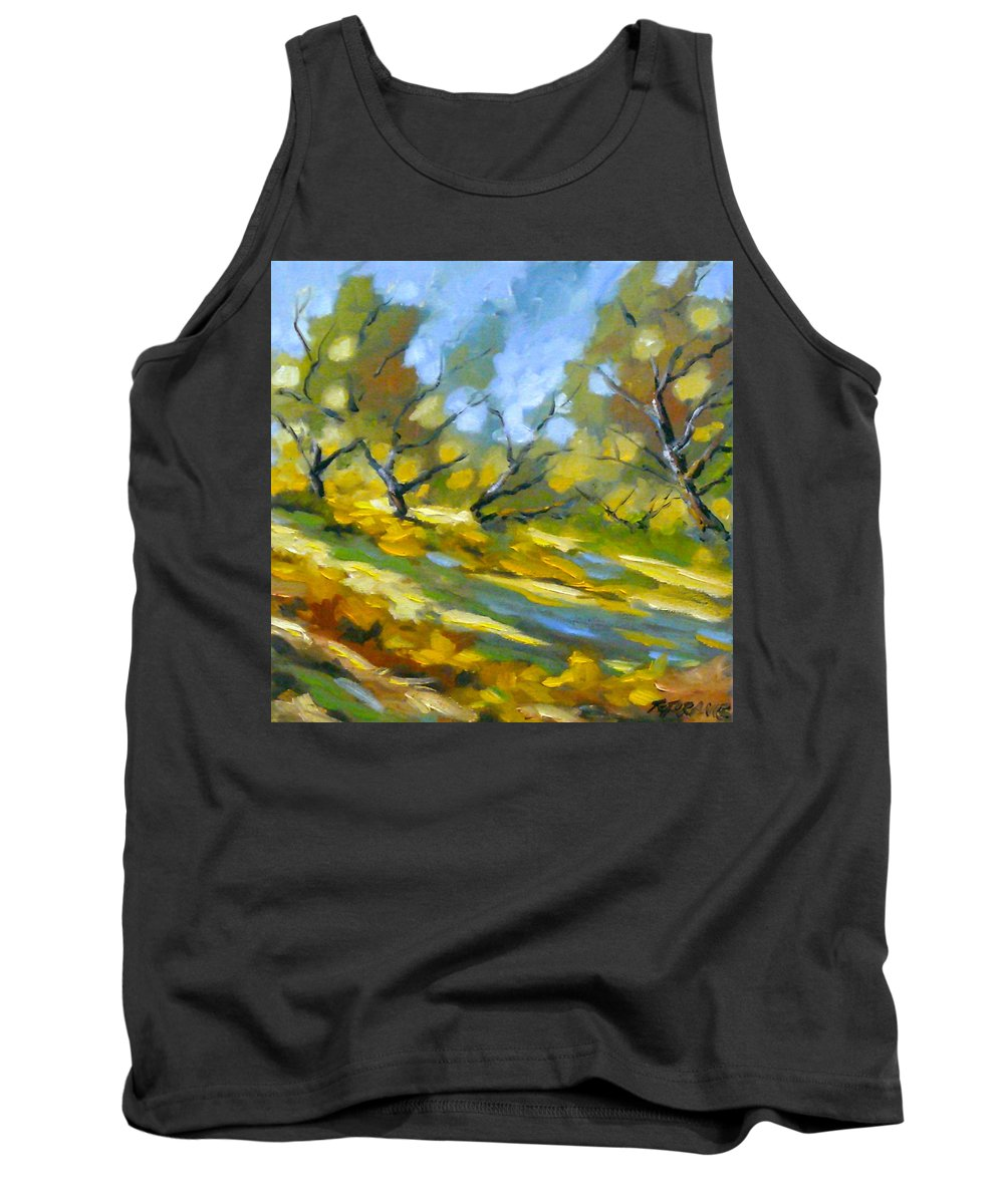 Original Painting; Oil; Landscape; Birches; Trees; Nature; Richard T Pranke; Lake Tank Top featuring the painting Late Afternoon by Richard T Pranke