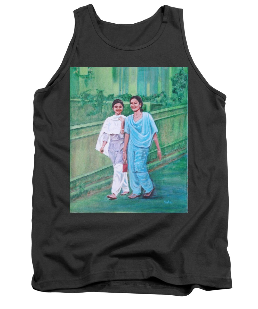 Tank Top featuring the painting Laughing Girls by Usha Shantharam