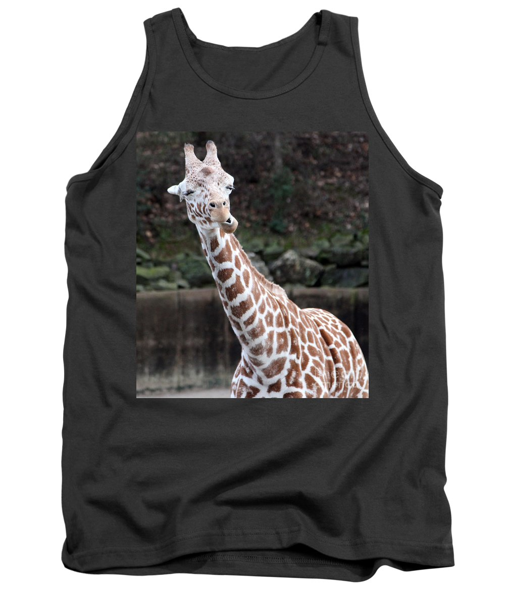 Laughing Giraffe Tank Top featuring the photograph Laughter by Amanda Barcon