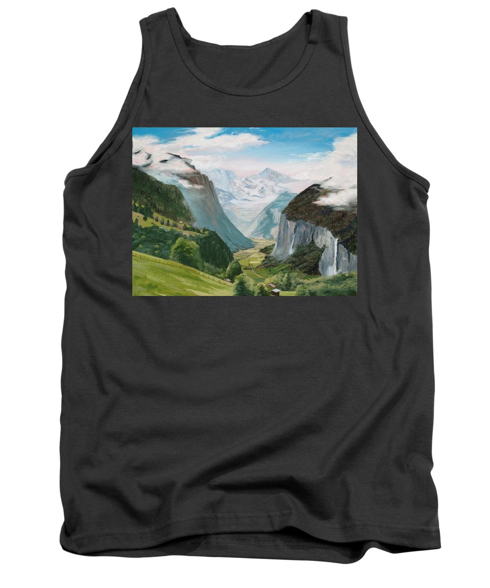 Switzerland Tank Top featuring the painting Lauterbrunnen Valley Switzerland by Jay Johnson