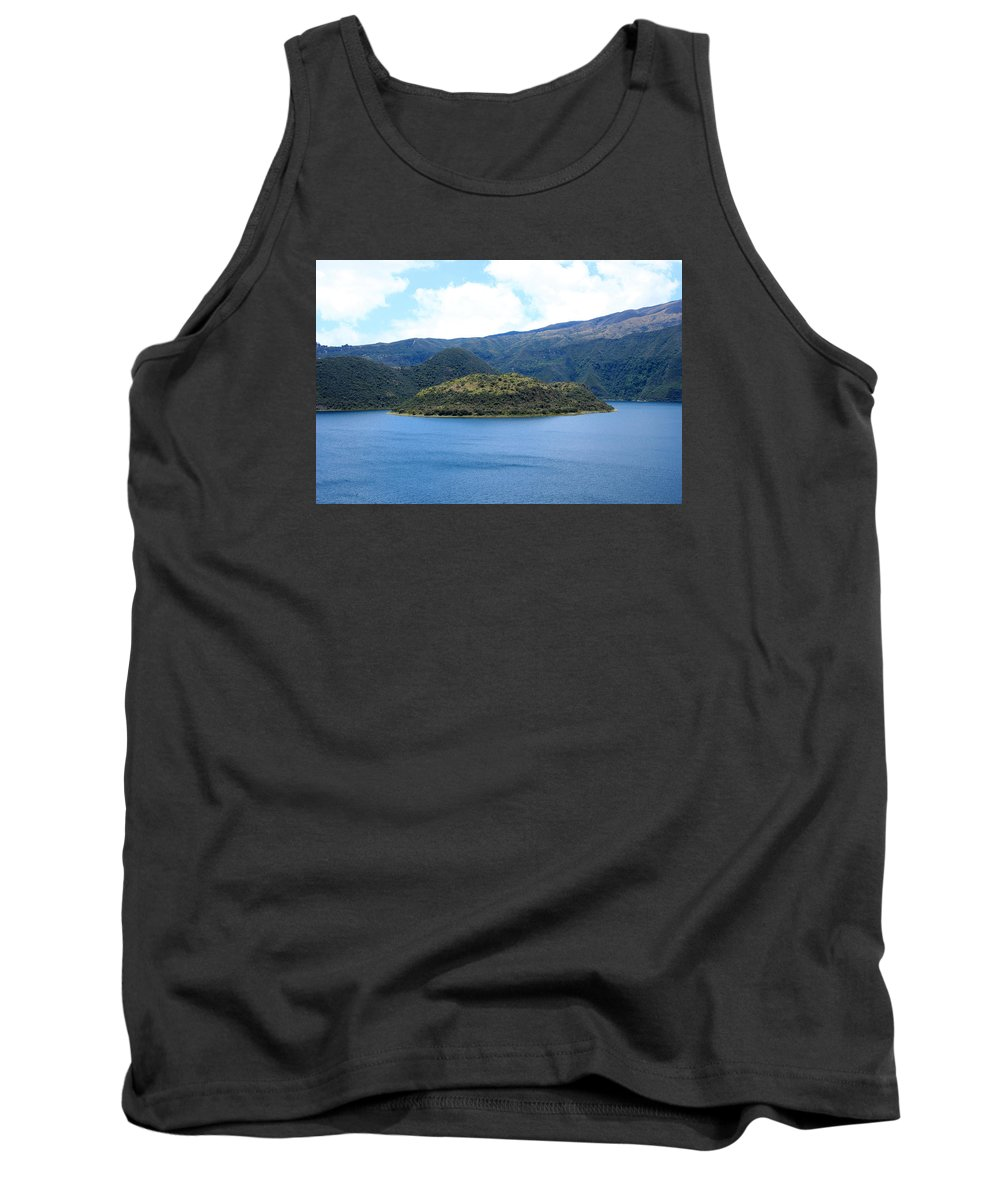 Island Tank Top featuring the photograph Lava Dome Island In Lake Cuicocha by Robert Hamm