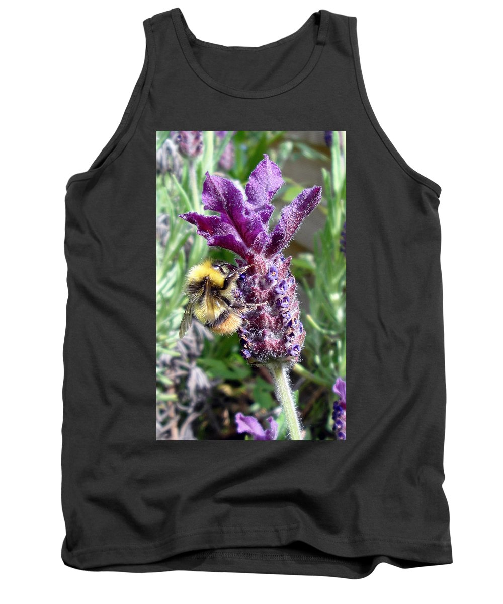 Flora Tank Top featuring the photograph Lavender And Busy Bee. by Susan Baker