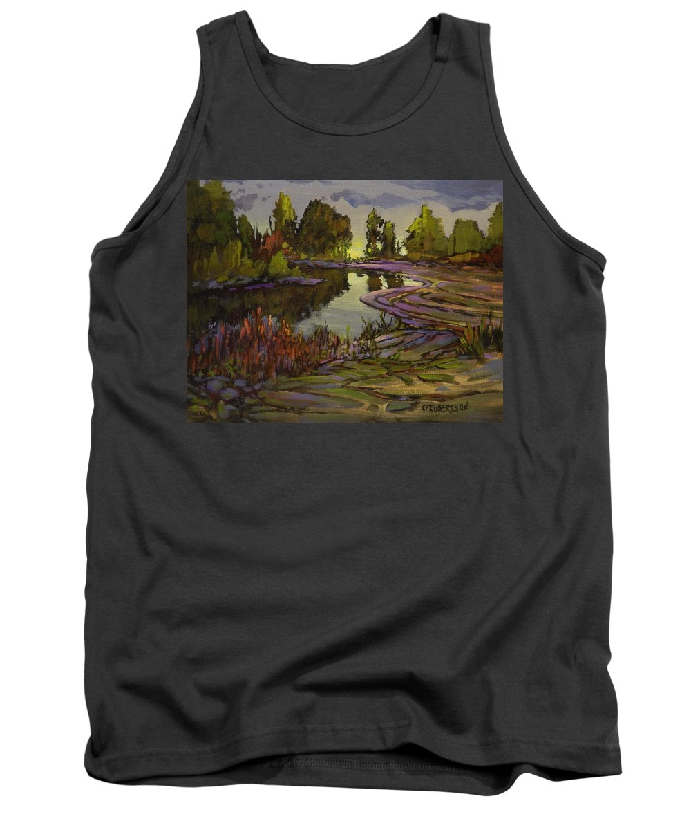 Water Marsh Pond Lake Creek Landscape Peaceful Green Reflections Lavender Purple Violet Mauve Trees Sky Storm Tank Top featuring the painting Lavender Field, Langley B C by Catherine Robertson