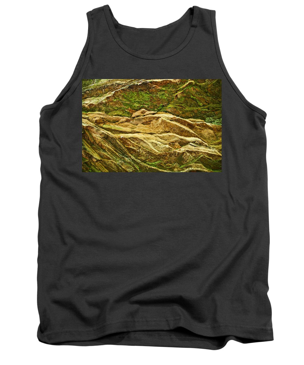 Rocks Layers Geology Moss Photography Photograph Art Digital Tank Top featuring the photograph Layers by Shari Jardina