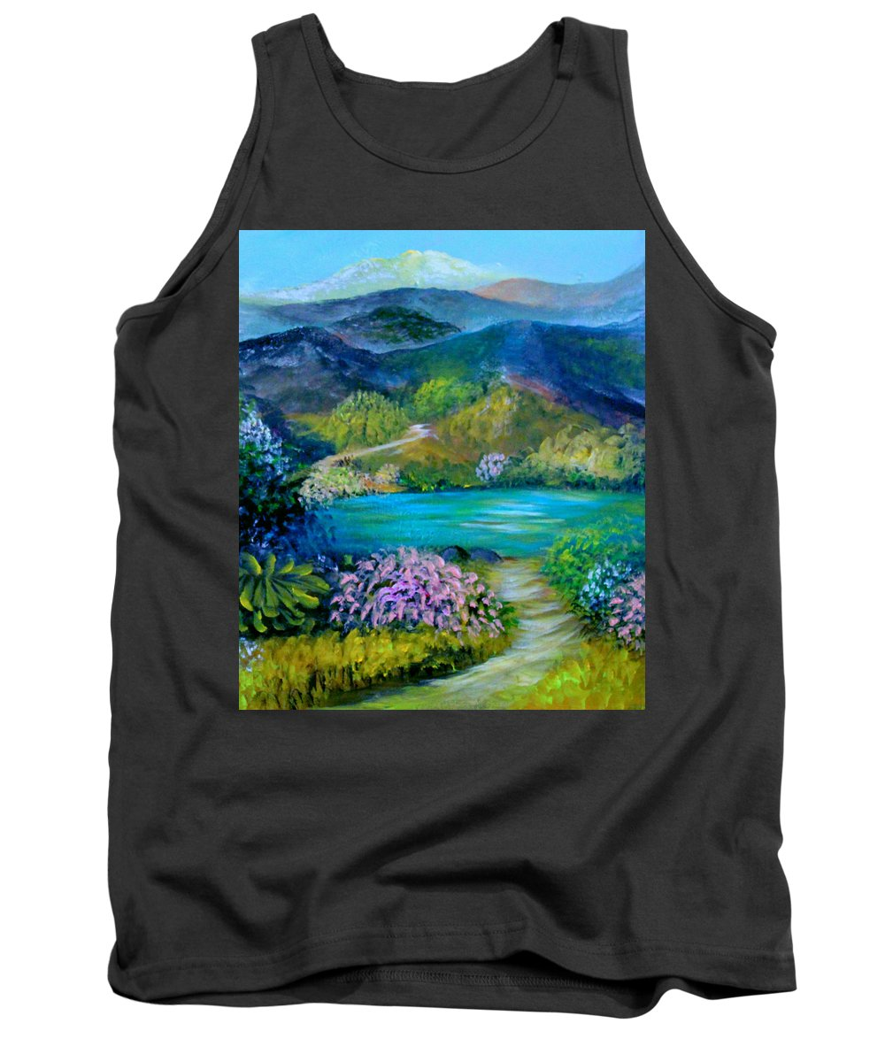 Landscape Tank Top featuring the painting Lazy Lake 2 by Sandra Young Servis