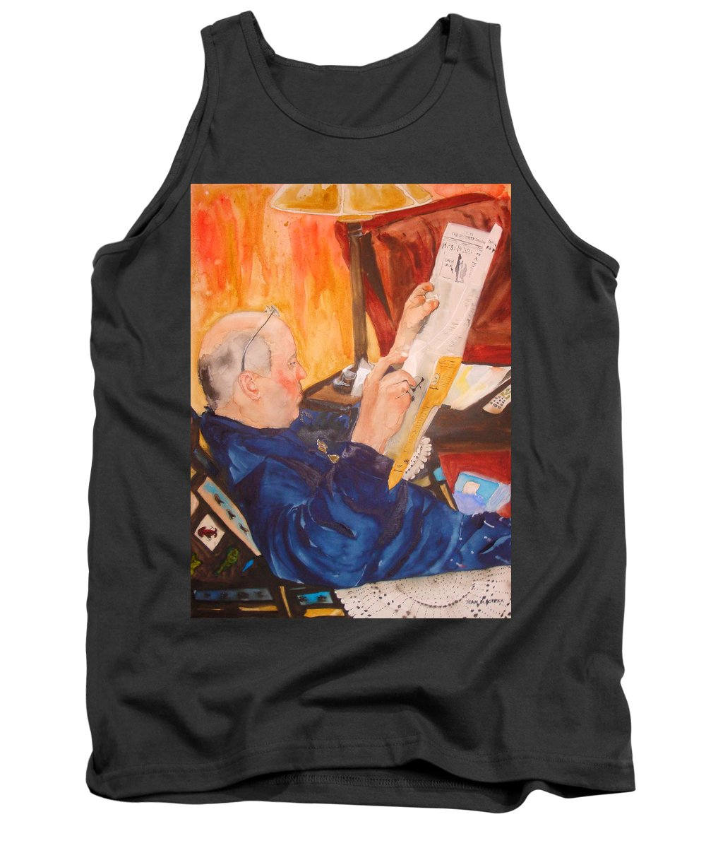 Portrait Tank Top featuring the painting Lazy Sunday Morning by Jean Blackmer