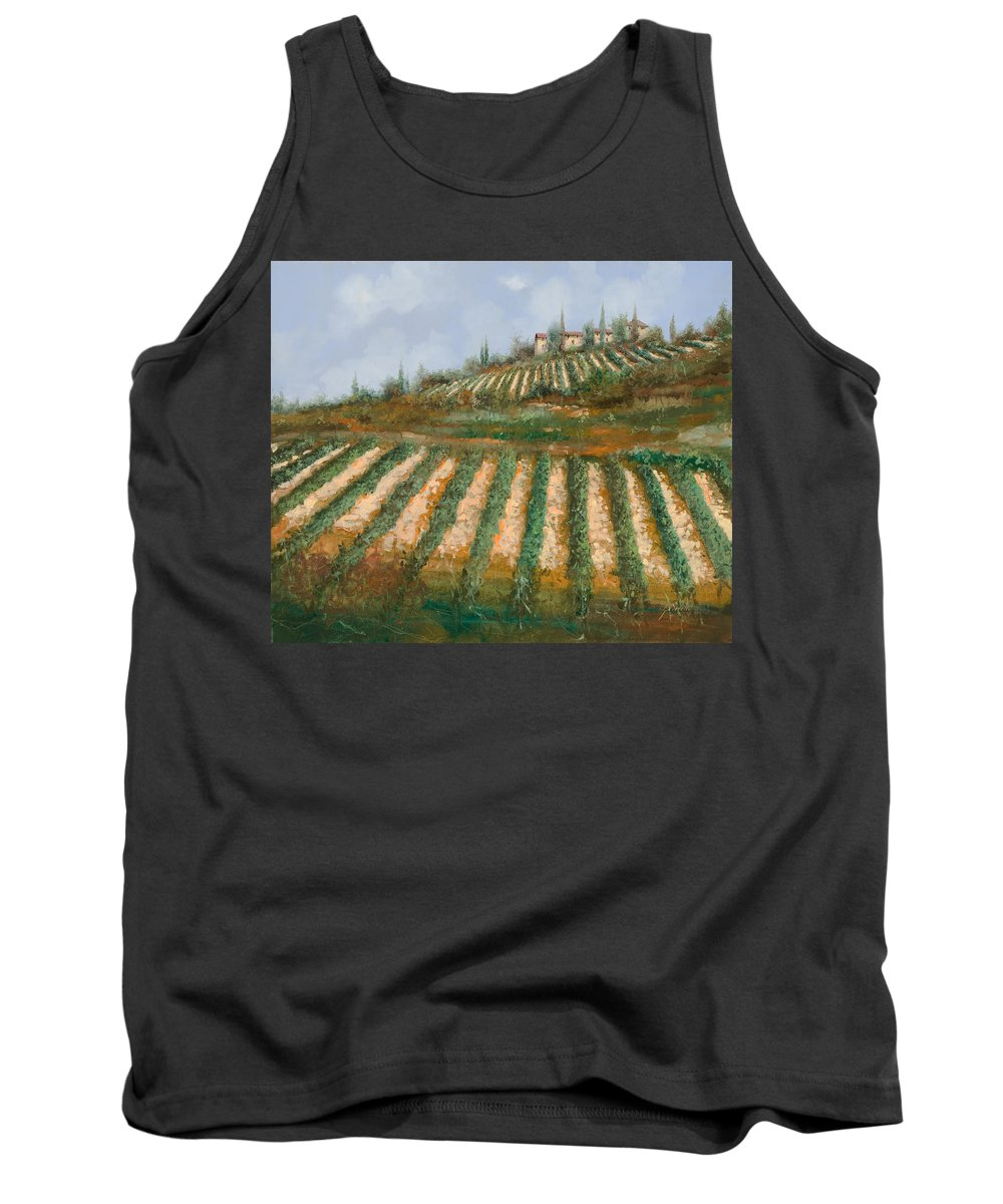 Vineyard Tank Top featuring the painting Le Case Nella Vigna by Guido Borelli