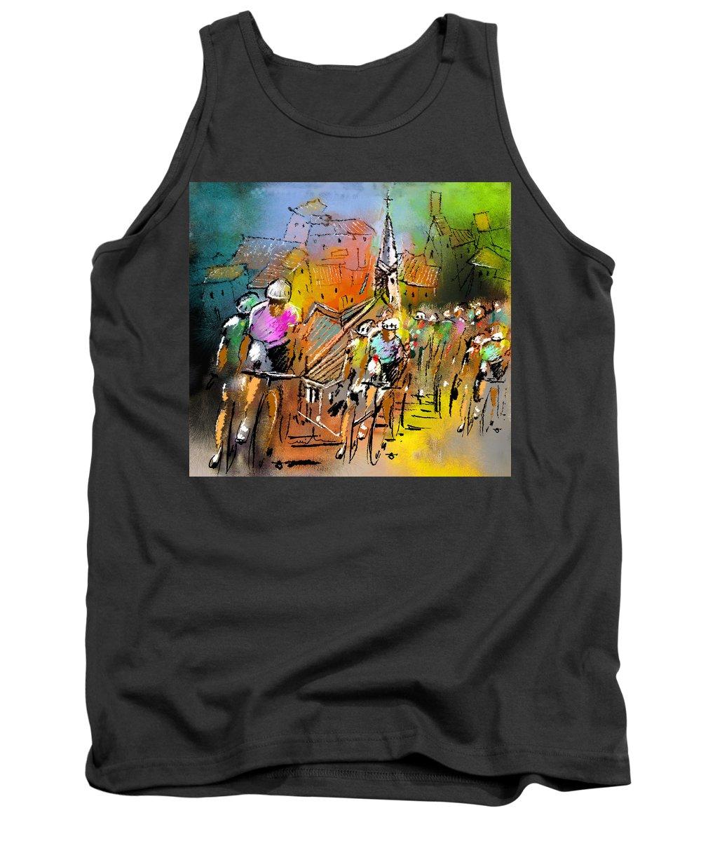 Sports Tank Top featuring the painting Le Tour De France 04 by Miki De Goodaboom