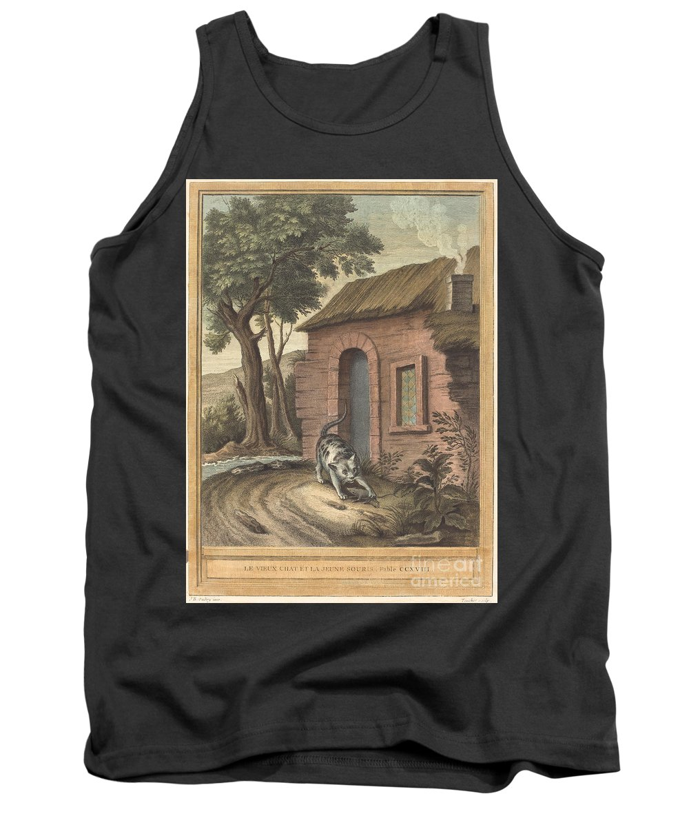 Tank Top featuring the drawing Le Vieux Chat Et La Jeune Souris (the Old Catand The Young Mouse) by Johann Christoph Teucher After Jean-baptiste Oudry