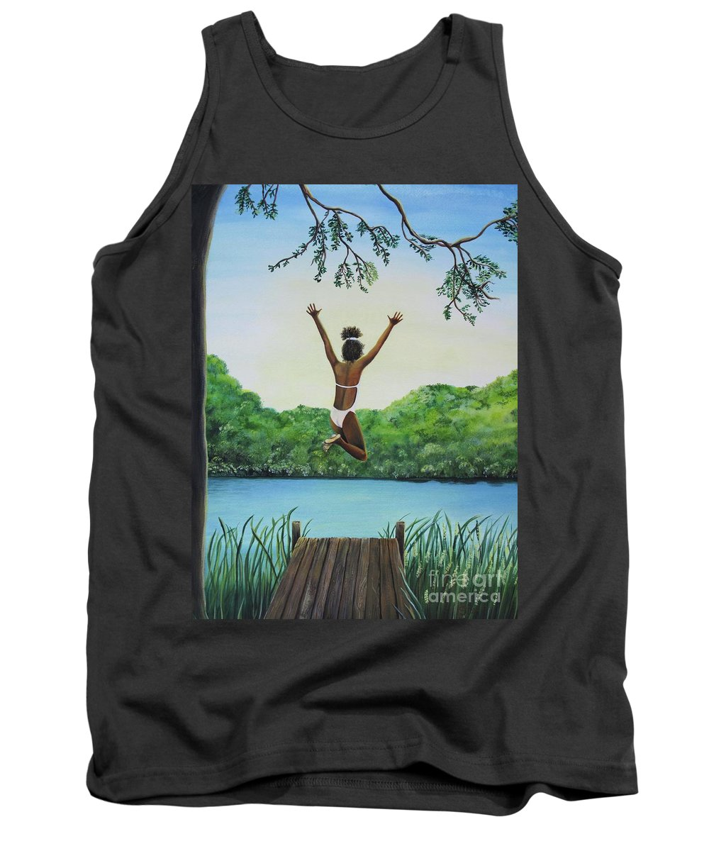 Summer Vacation Tank Top featuring the painting Leap Of Faith by Kris Crollard
