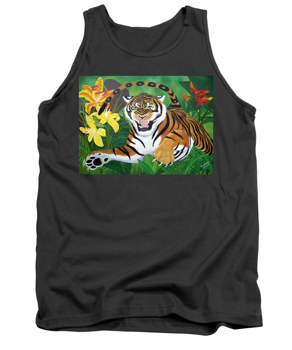 Tiger Tank Top featuring the painting Leaping Tiger by Debbie LaFrance