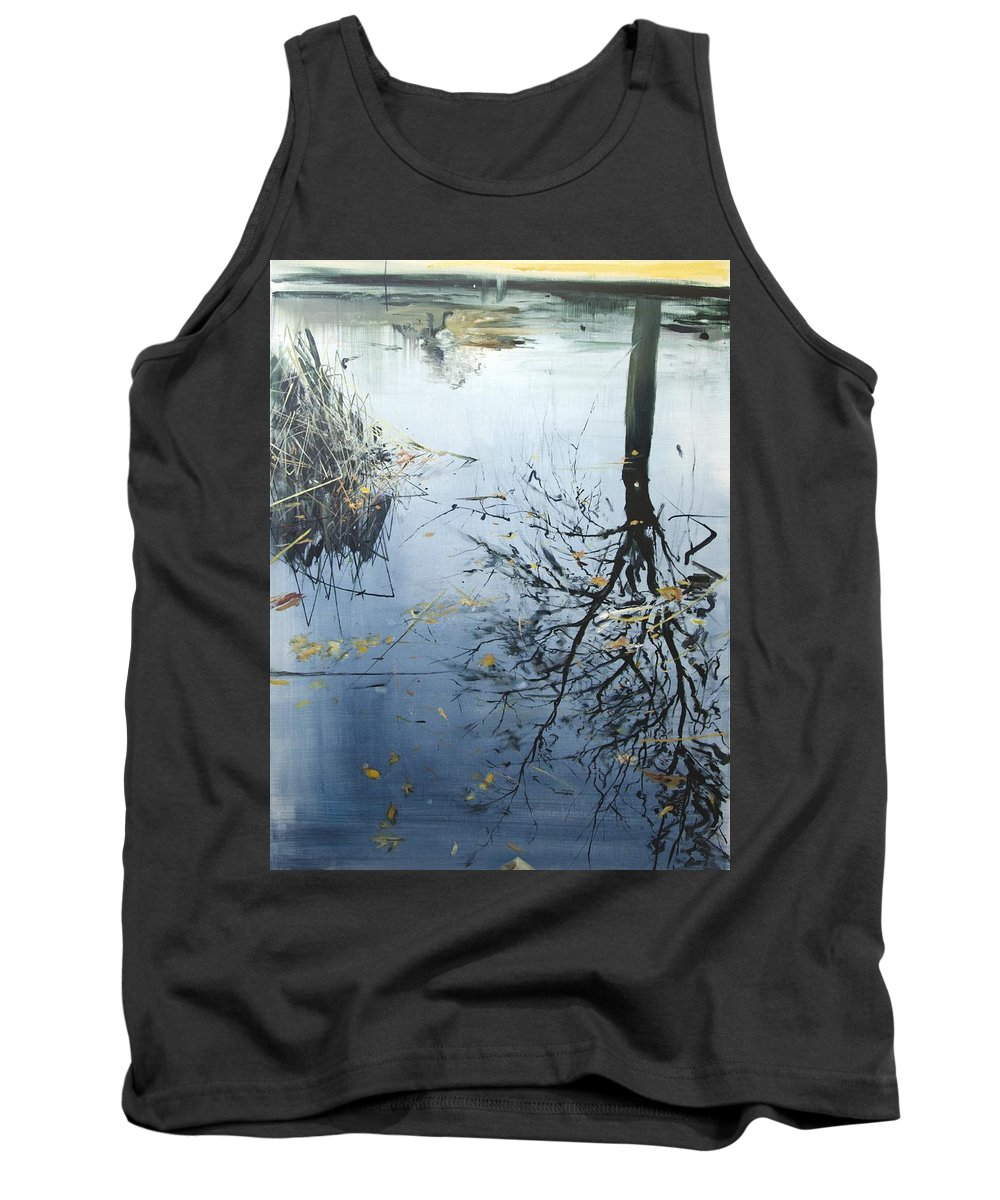 Tree Tank Top featuring the painting Leaves And Reeds On Tree Reflection by Calum McClure
