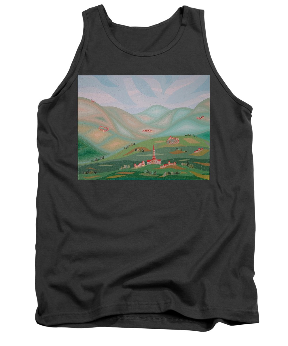 Oil Tank Top featuring the painting Legendary Land by Peter Antos