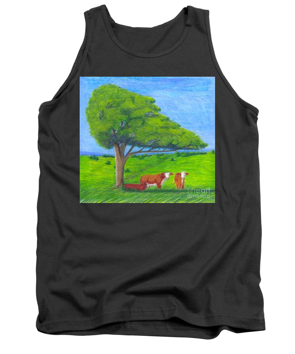 Cattle Tank Top featuring the pastel Leisure Time by Mendy Pedersen