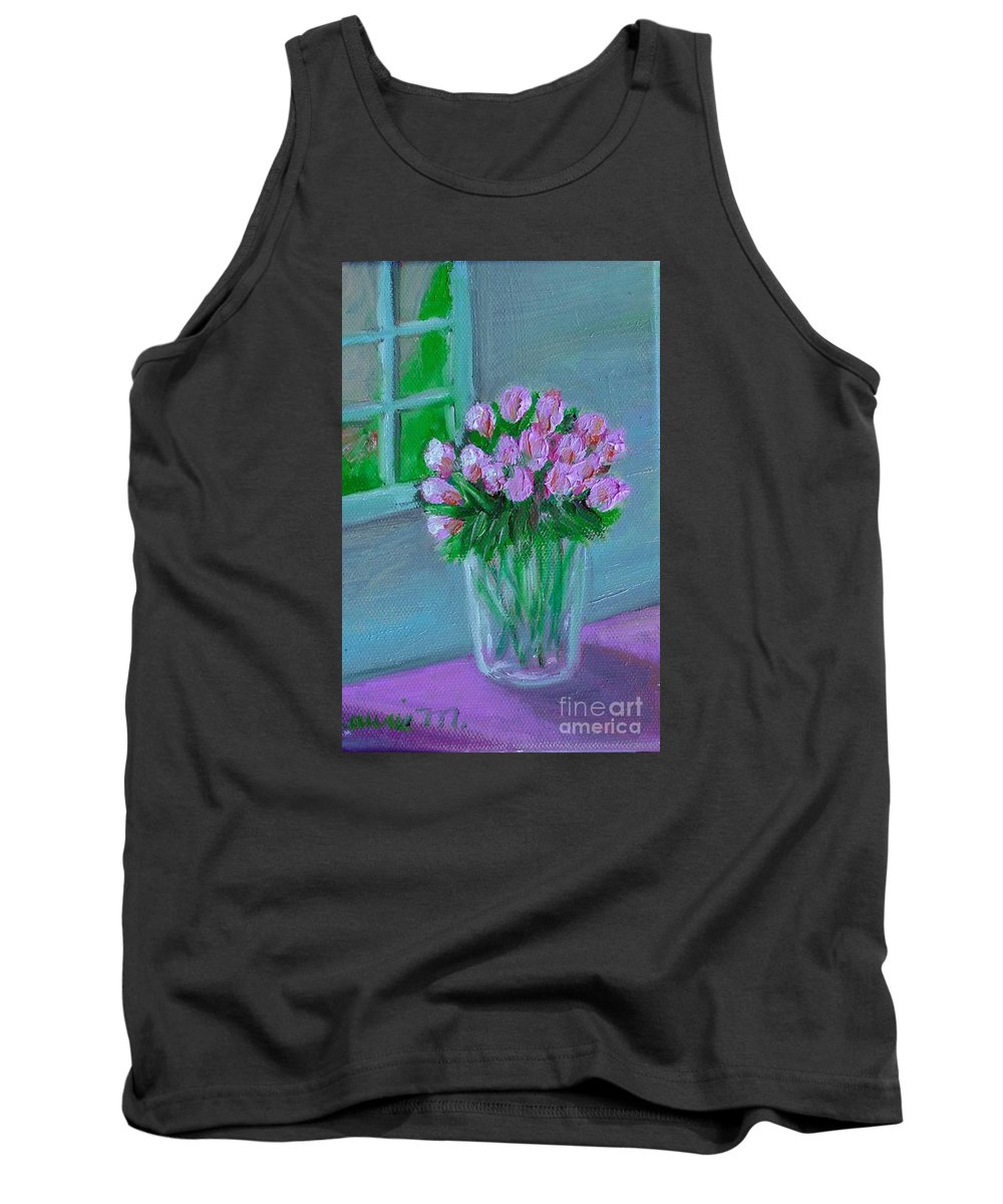 Rose Tank Top featuring the painting Leslie's Roses by Laurie Morgan