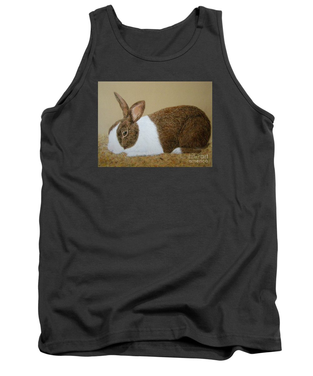 Bunny Tank Top featuring the painting Les's Rabbit by Lynn Quinn