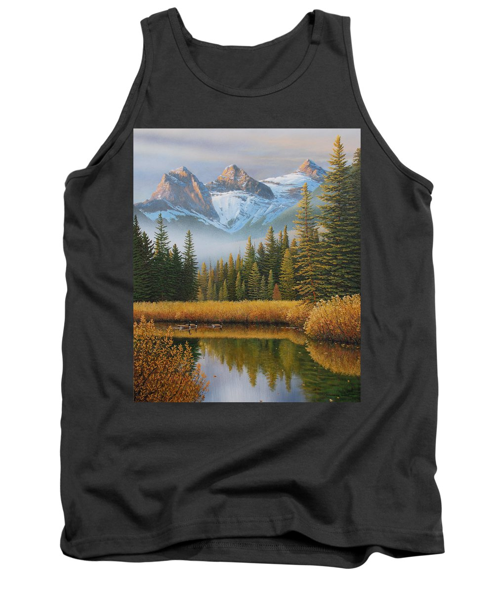 Landscape Tank Top featuring the painting Let There Be Light by Jake Vandenbrink