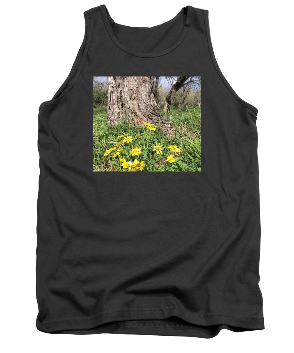 Yellow Flower Tank Top featuring the photograph Life Under A Dead Tree by Nancy Cavallin