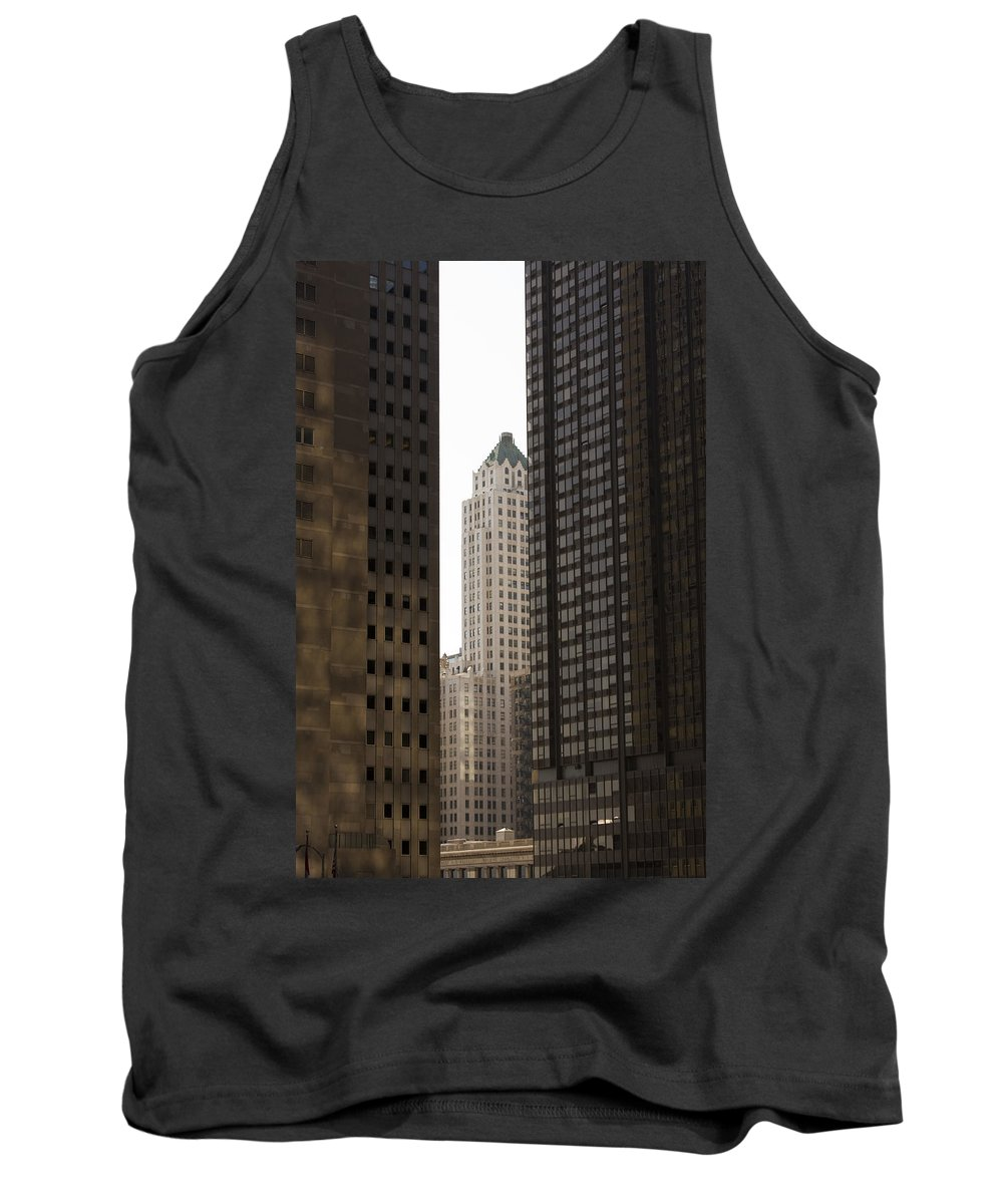Chicago City Wind Windy Jungle Urban Metro Building Tall High Windows Skyscraper Sky Tank Top featuring the photograph Light In The End by Andrei Shliakhau
