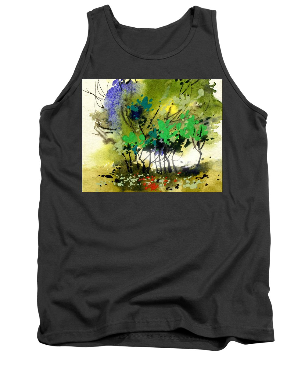 Nature Tank Top featuring the painting Light In Trees by Anil Nene