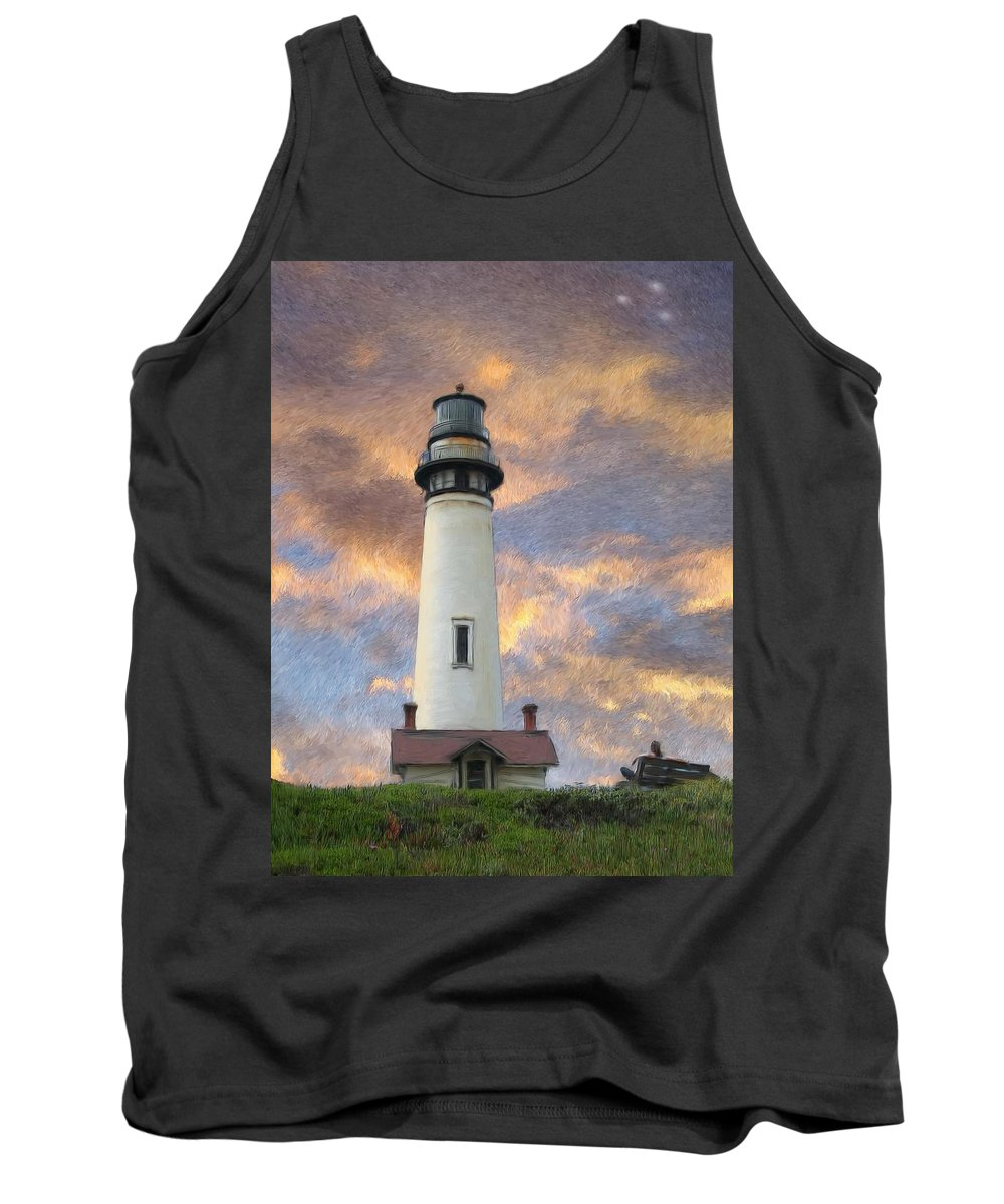 Lighthouse Art Tank Top featuring the digital art Lighthouse Visitors by Snake Jagger