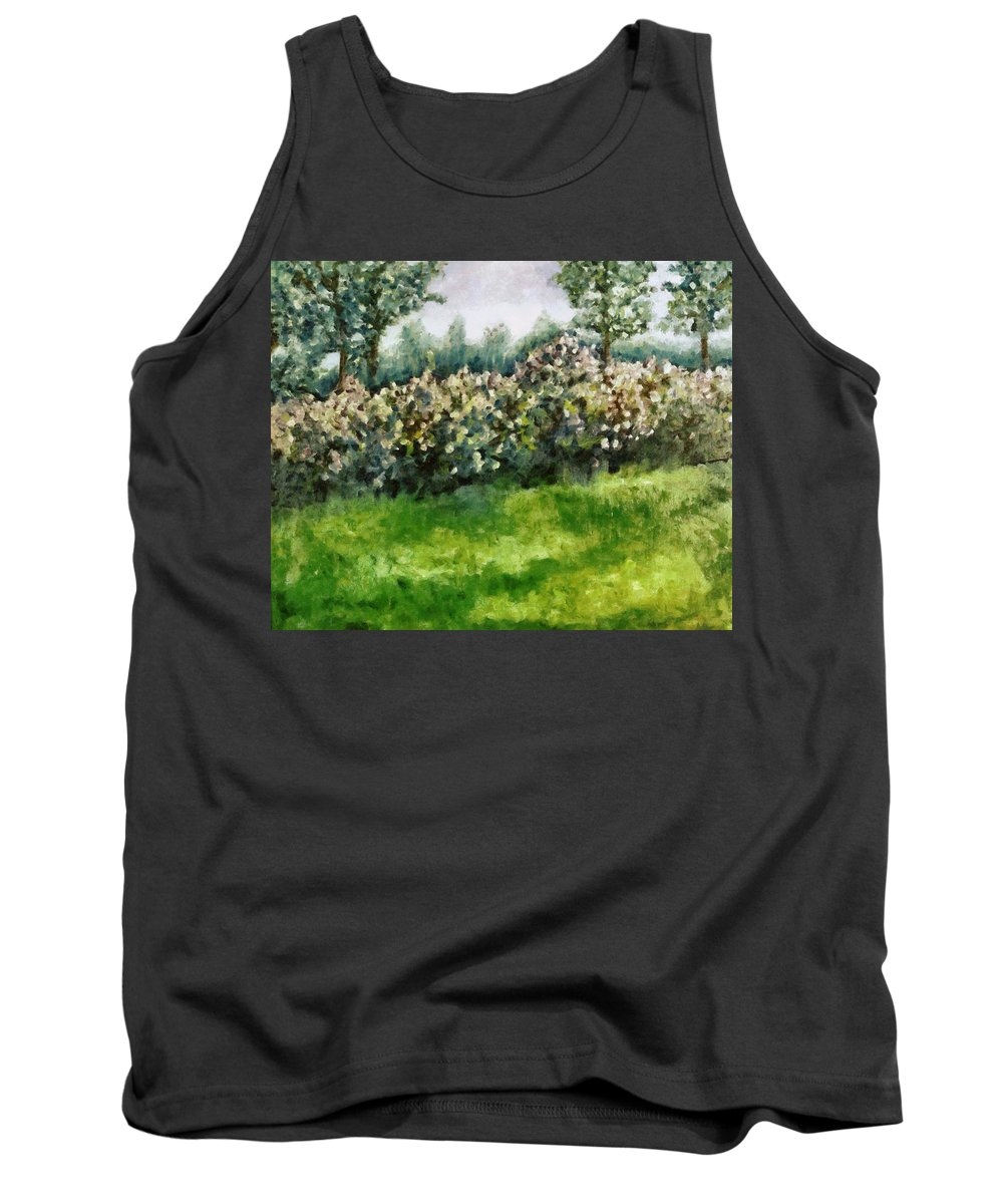 Spring Tank Top featuring the painting Lilac Bushes In Springtime by Michelle Calkins