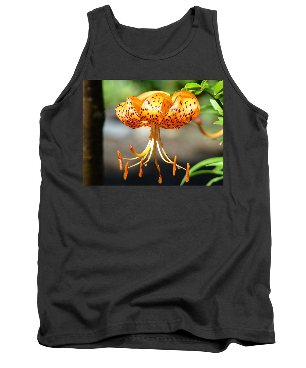 Lilies Tank Top featuring the photograph Lily Flowers Art Orange Tiger Lilies Giclee Baslee Troutman by Baslee Troutman