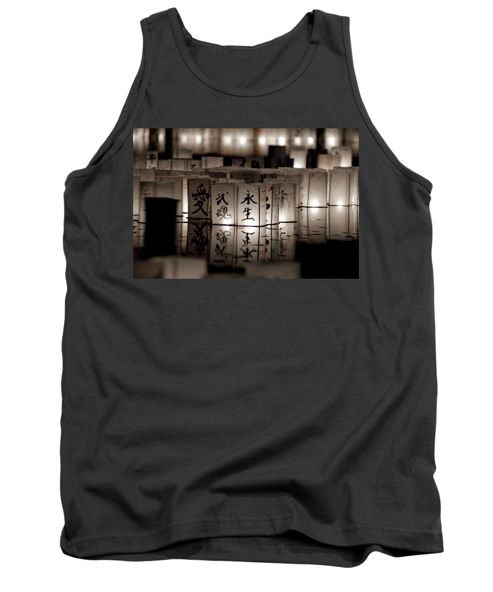 Japanese Lanterns Tank Top featuring the photograph Lit Memories by Greg Fortier