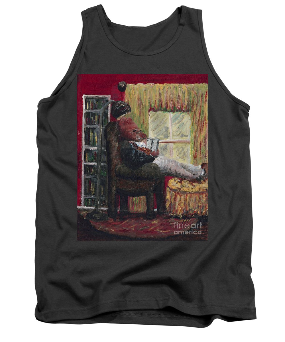 Hog Tank Top featuring the painting Literary Escape by Nadine Rippelmeyer