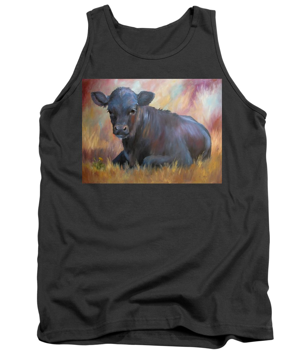 Calf Tank Top featuring the painting Little Moo Angus Calf Painting Southwest Art by Kim Corpany