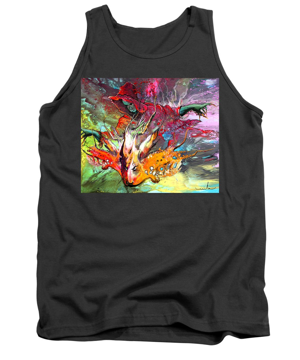 Miki Tank Top featuring the painting Little Red Dragonmaker by Miki De Goodaboom
