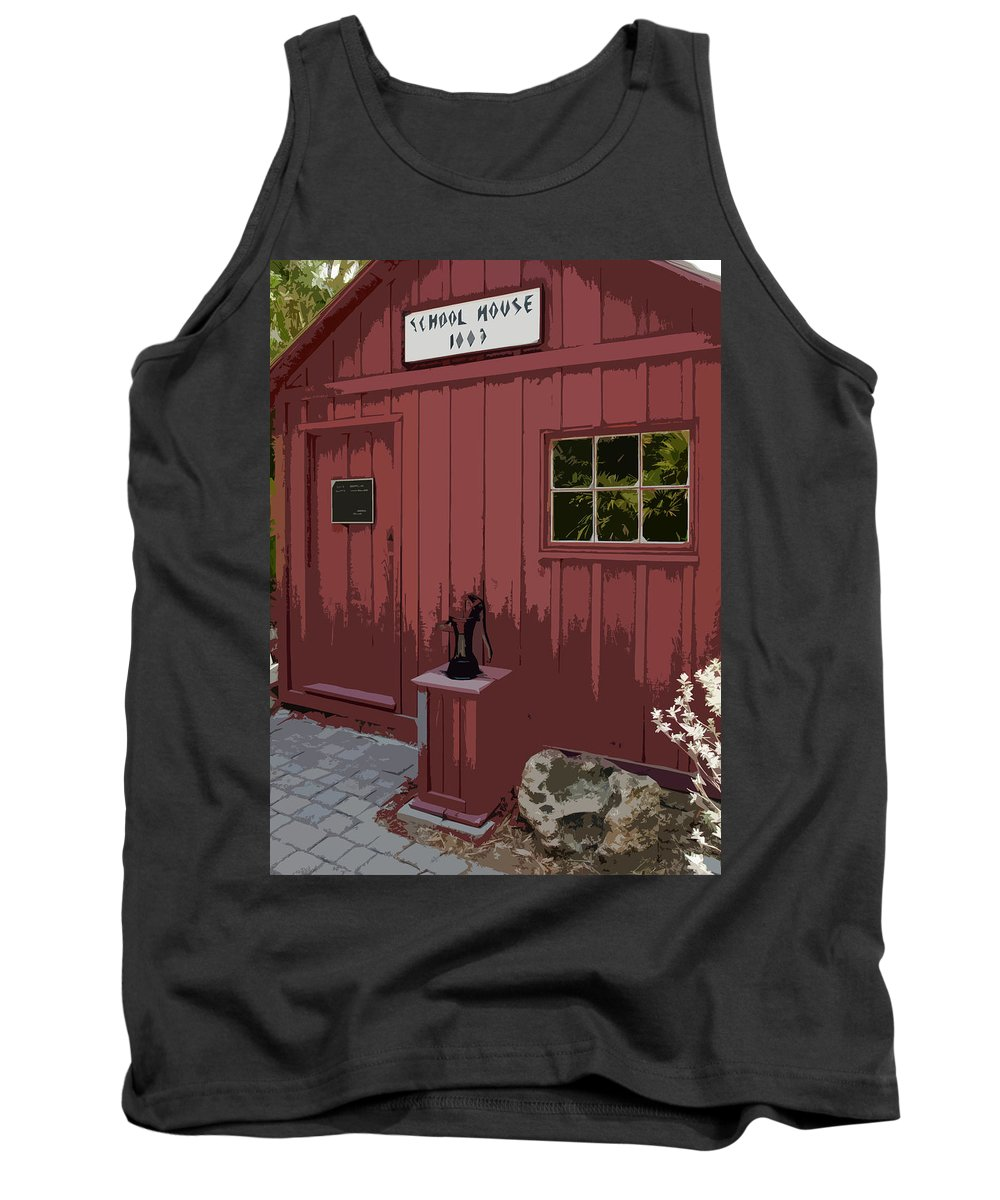 Little Tank Top featuring the painting Little Red Schoolhouse by Allan Hughes