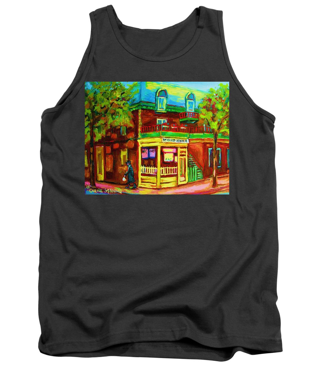 Montreal Streetscenes Tank Top featuring the painting Little Shop On The Corner by Carole Spandau