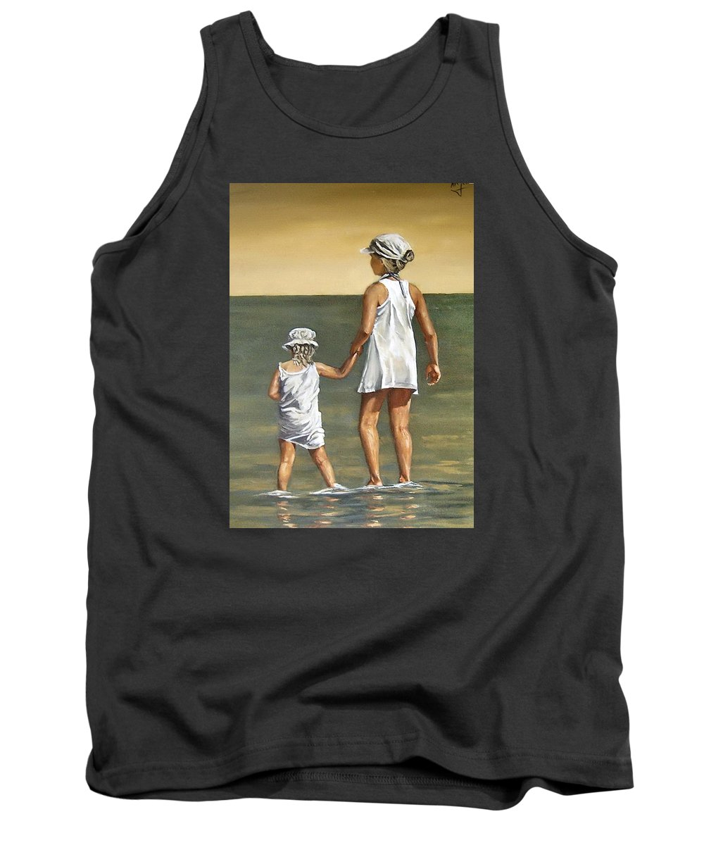 Little Girl Reflection Girls Kids Figurative Water Sea Seascape Children Portrait Tank Top featuring the painting Little Sisters by Natalia Tejera