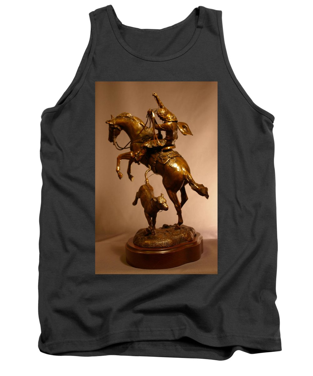 Bronze Tank Top featuring the sculpture Little Stinker Bronze Horse Western Sculpture by Kim Corpany