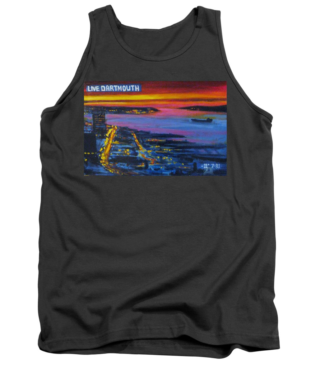 Night Scenes Tank Top featuring the painting Live Eye Over Dartmouth Ns by John Malone