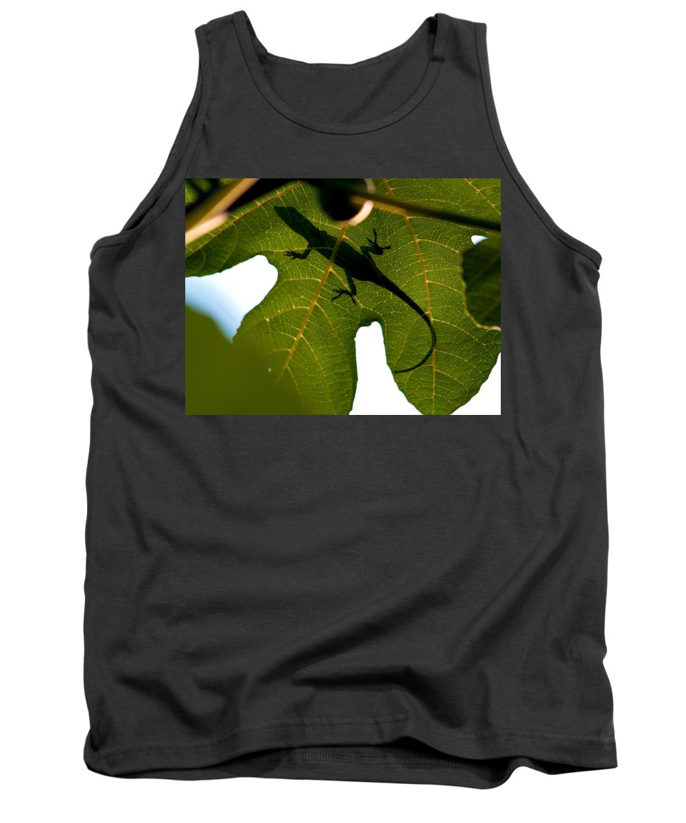 Lizard Tank Top featuring the photograph Lizard On A Fig Leaf by Charles Hite