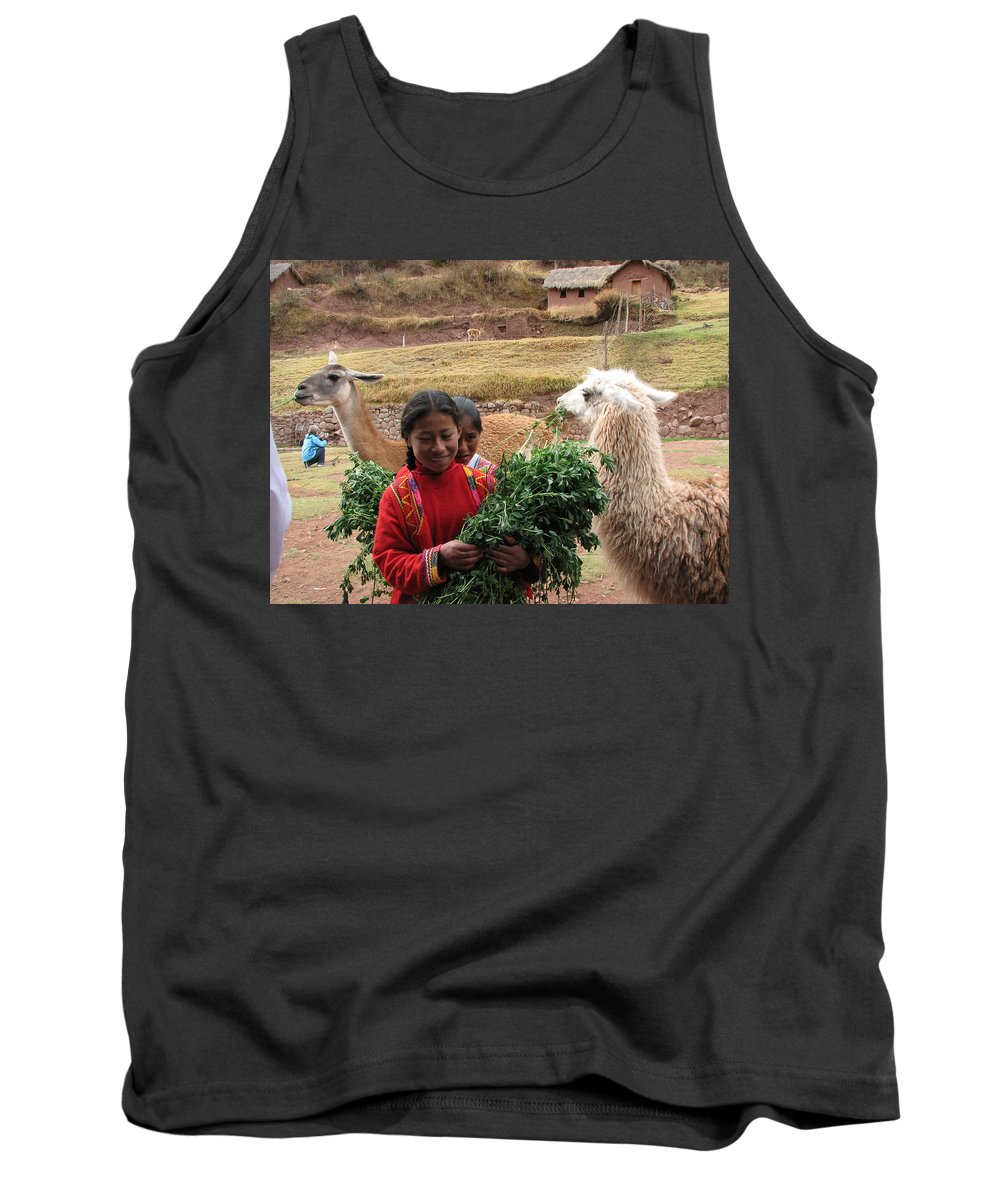 Animal Tank Top featuring the photograph Llama Herder by Sandra Bourret