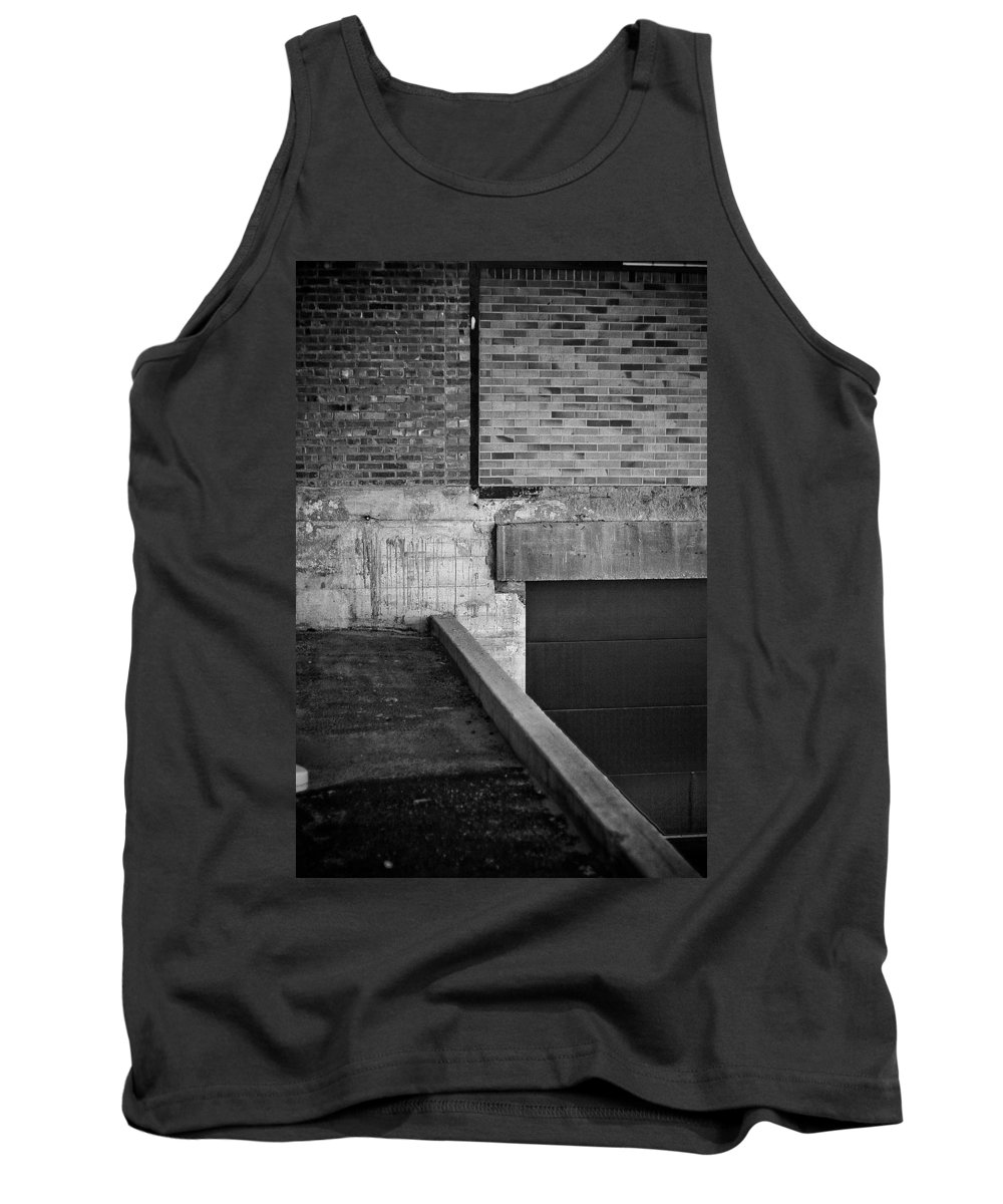 Black And White Photograph Tank Top featuring the photograph Load Ing Dock by Mike Oistad