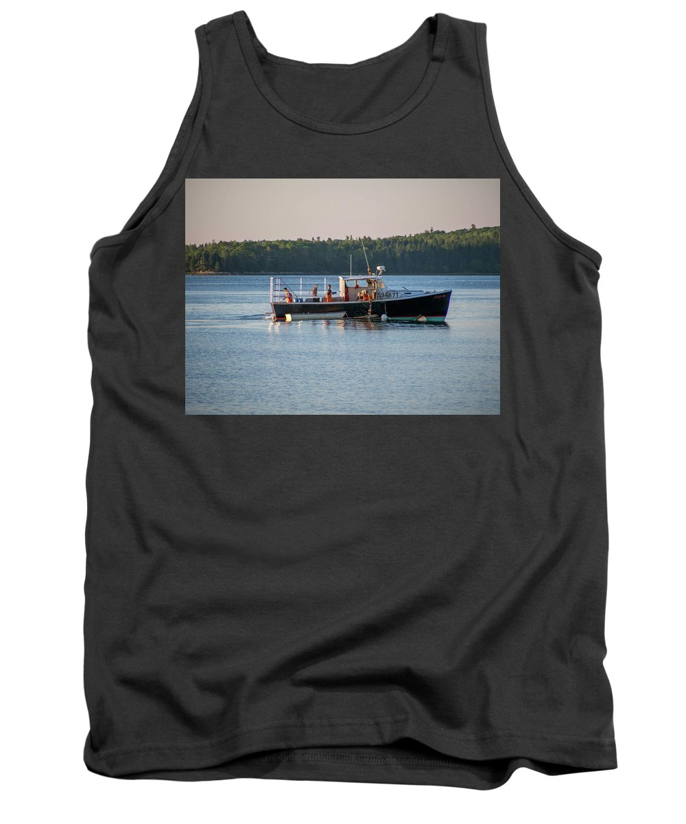 Maine Tank Top featuring the photograph Lobstermen At Work by Trace Kittrell