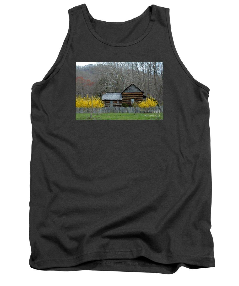 Farm House Tank Top featuring the photograph Log Cabin by Bernd Billmayer