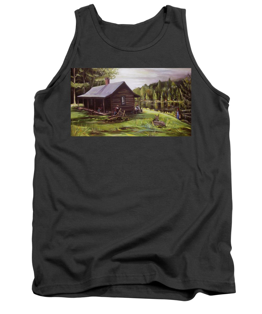 Log Cabin Tank Top featuring the painting Log Cabin By The Lake by Nancy Griswold