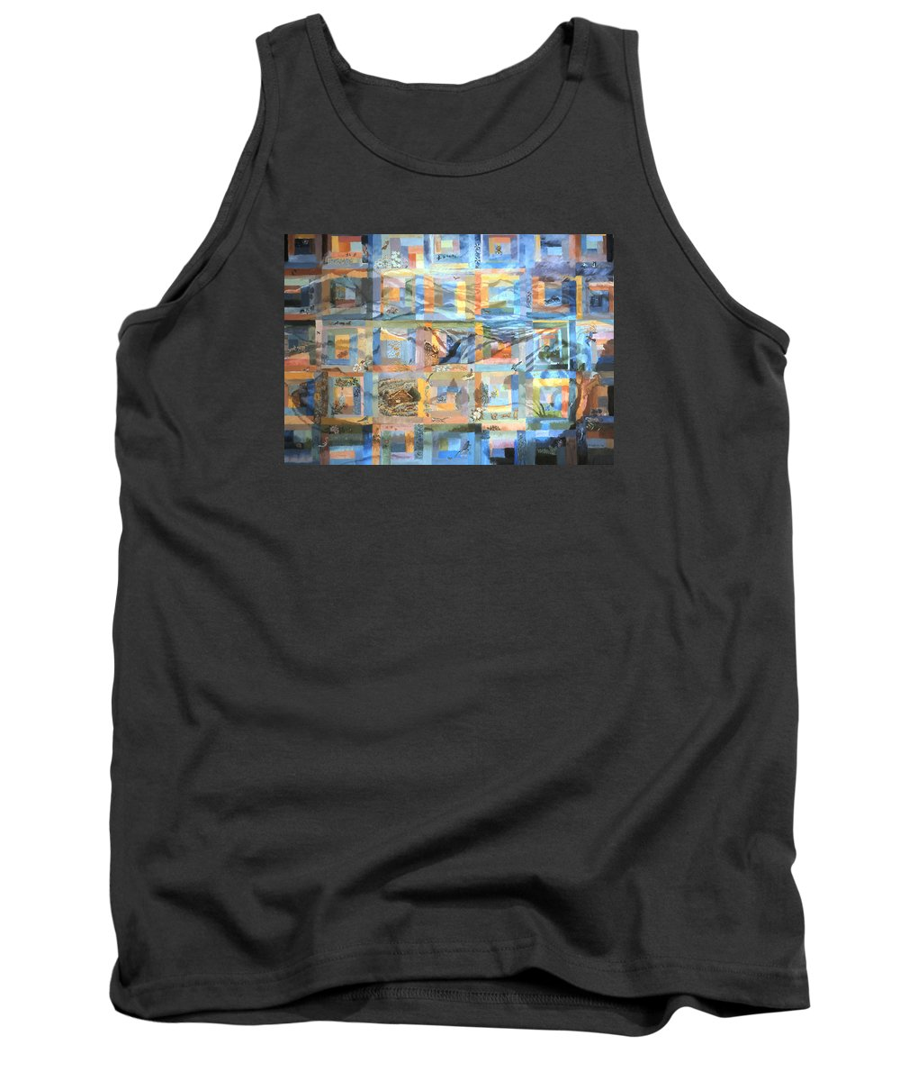 Landscape Tank Top featuring the painting Log Cabin Quilt by Dawn Senior-Trask