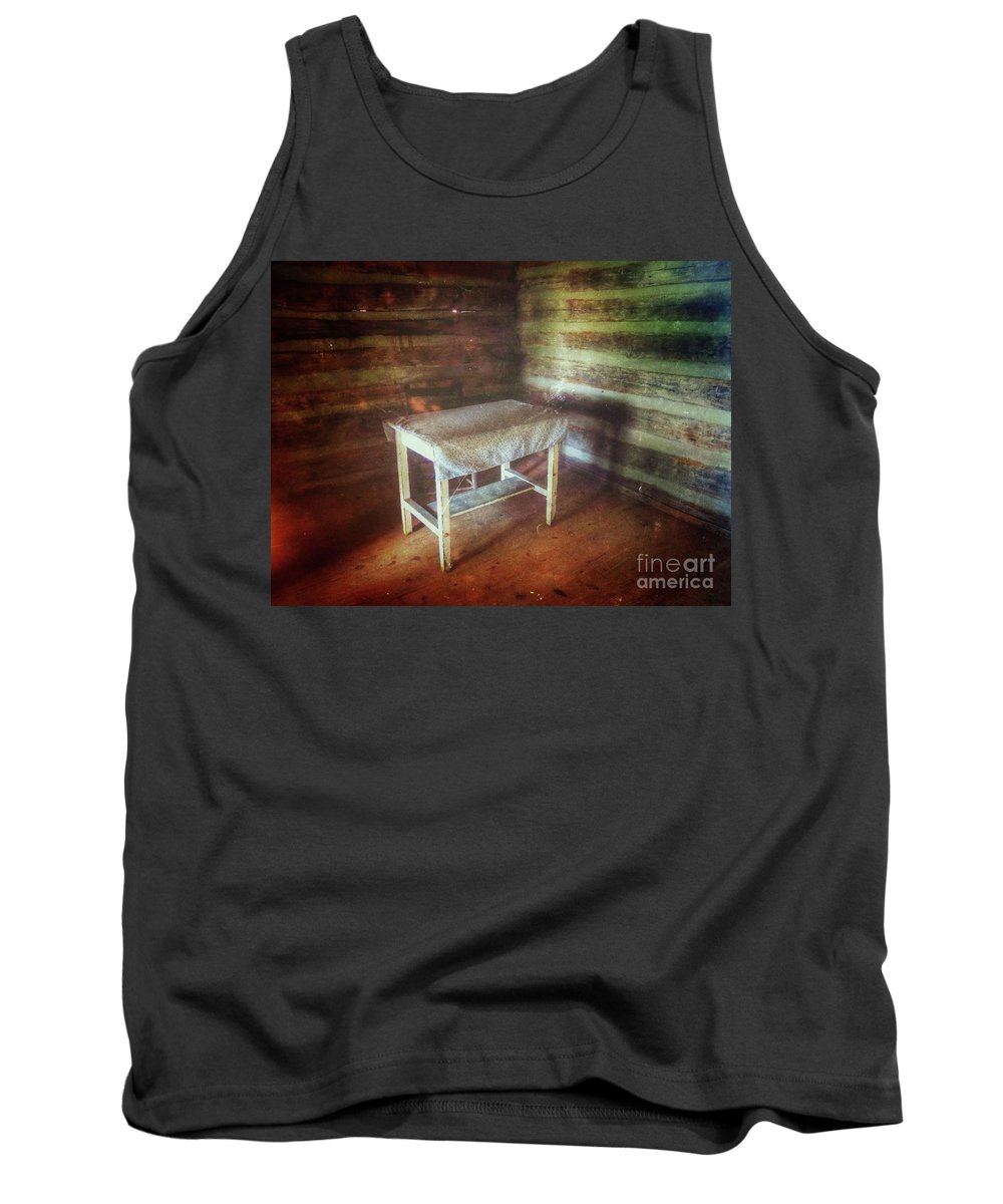 Log Cabin Furniture Tank Top featuring the photograph Log Cabin Table by John Myers